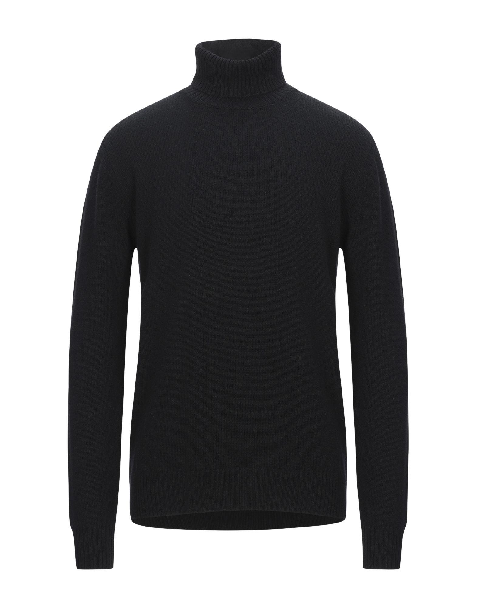 《セール開催中》S. MORITZ メンズ タートルネック ブラック 56 ウール 90% / カシミヤ 10%