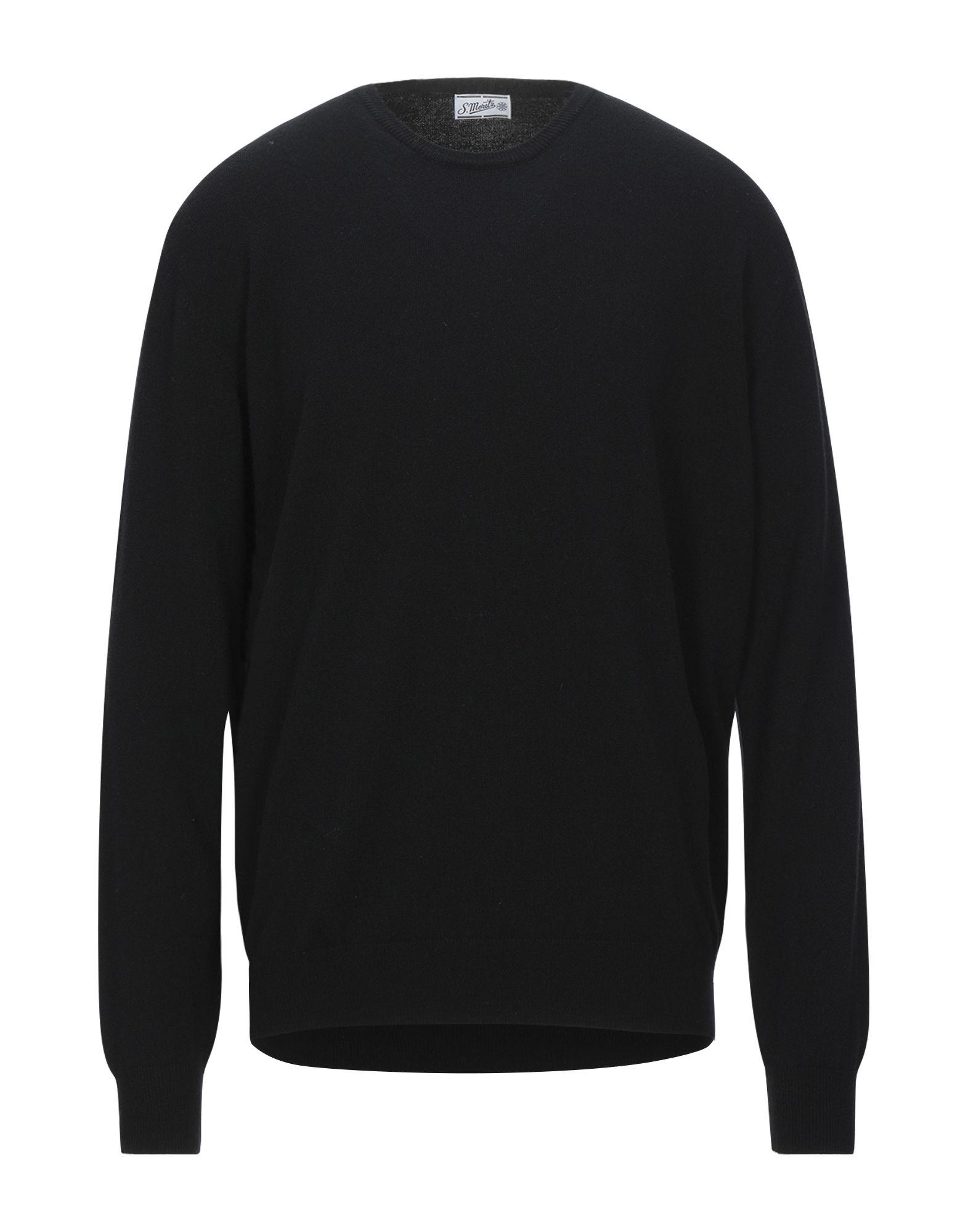 《セール開催中》S. MORITZ メンズ プルオーバー ブラック 58 ウール 90% / カシミヤ 10%