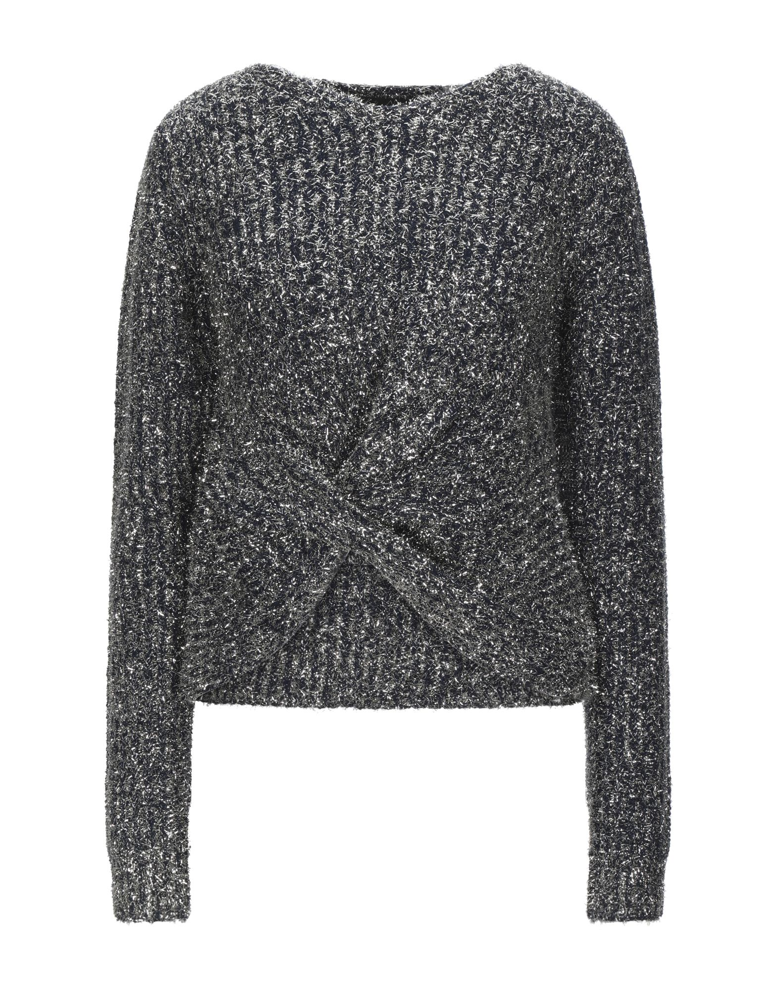 ENDLESS ROSE Sweaters. knitted, lamé, no appliqués, round collar, two-tone, medium-weight knit, long sleeves, no pockets. 68% Acrylic, 32% Polyester