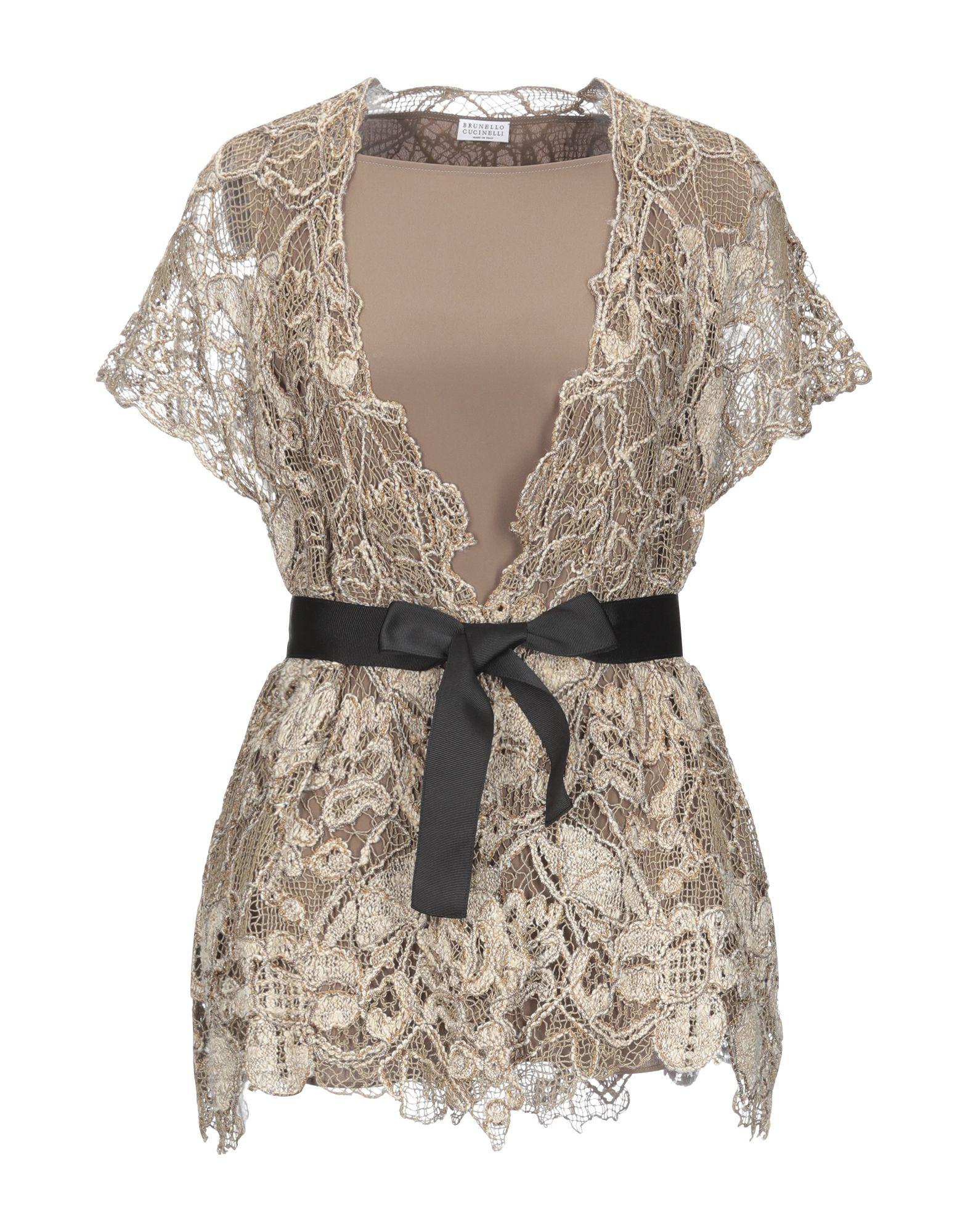BRUNELLO CUCINELLI Twin sets. knitted, belt, metal applications, lightweight knit, deep neckline, multicolor pattern, short sleeves, no pockets, 2-piece set. 74% Acetate, 26% Silk