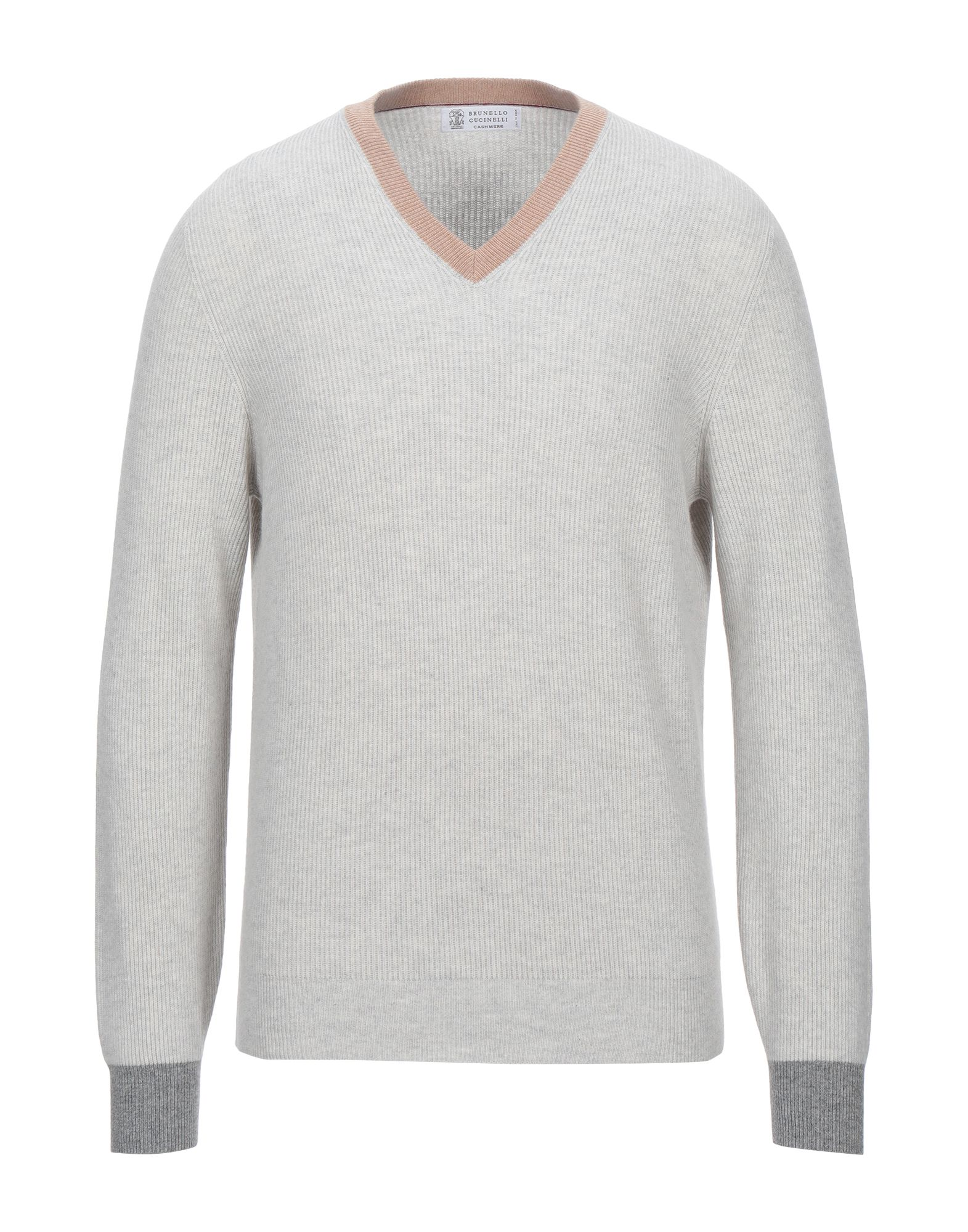 BRUNELLO CUCINELLI Sweaters. knitted, no appliqués, v-neck, multicolor pattern, long sleeves, no pockets, lightweight knit, mélange. 100% Cashmere