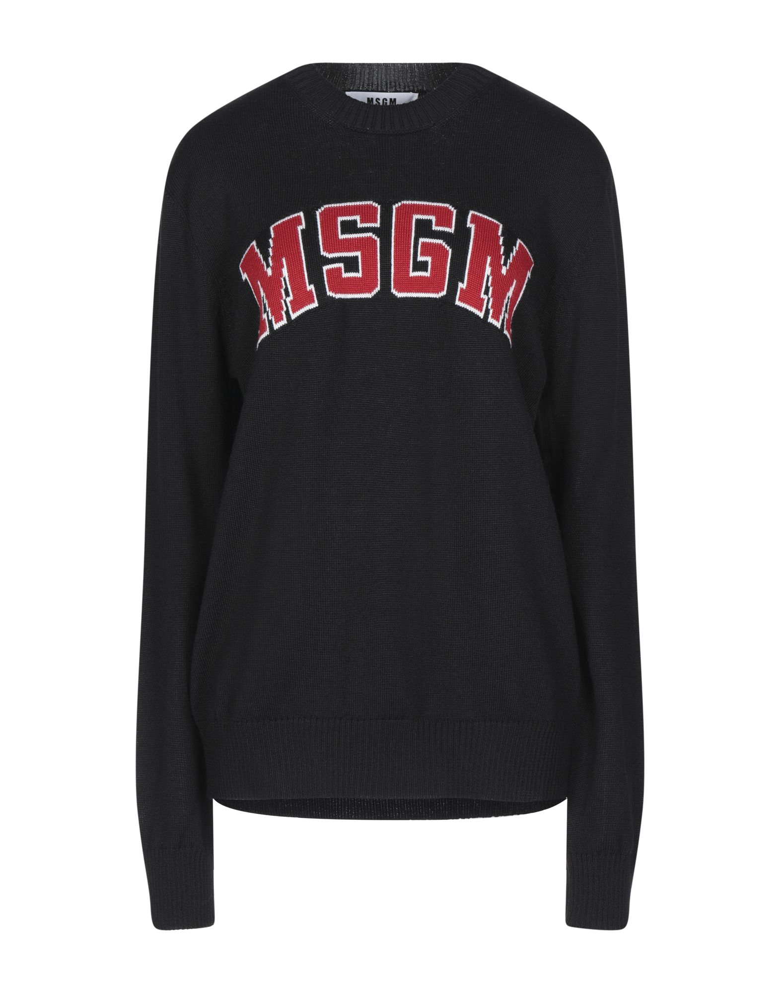 MSGM Sweaters. knitted, logo, lightweight knit, round collar, solid color, long sleeves, no pockets, large sized. 50% Wool, 50% Acrylic