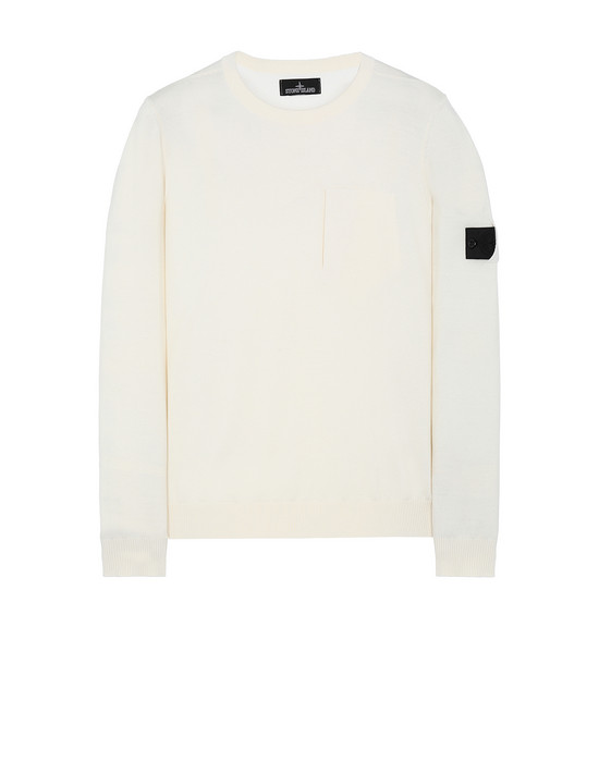 STONE ISLAND SHADOW PROJECT 505A4 CATCH POCKET CREWNECK Sweater Herr Natürliches Weiss