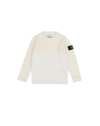 STONE ISLAND KIDS 512A5 Sweater Man Natural White USD 118