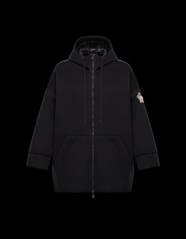 HOODED CARDIGAN Black Category ZIP-UP SWEATSHIRTS Woman