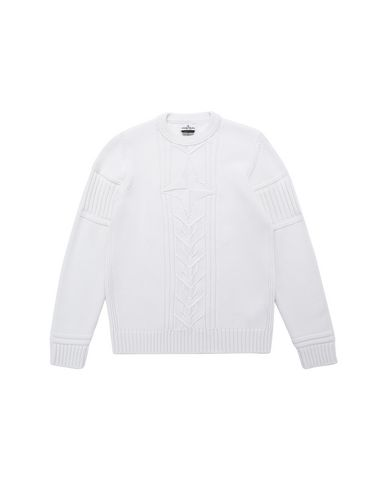 STONE ISLAND TEEN 520A6 Sweater Man Natural White USD 264