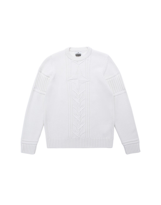 STONE ISLAND TEEN 520A6 Sweater Man Natural White