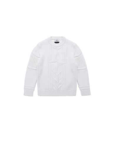STONE ISLAND KIDS 520A6 Sweater Man Natural White USD 221