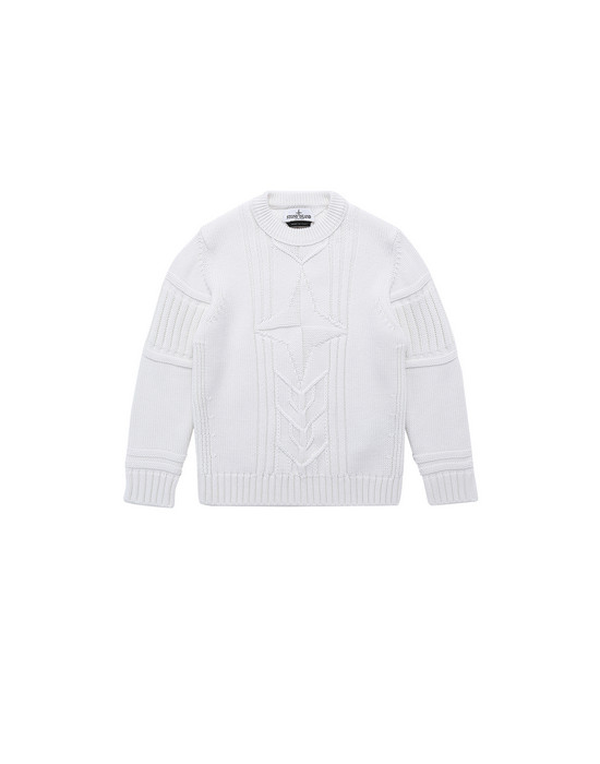 STONE ISLAND JUNIOR 520A6 Sweater Man Natural White