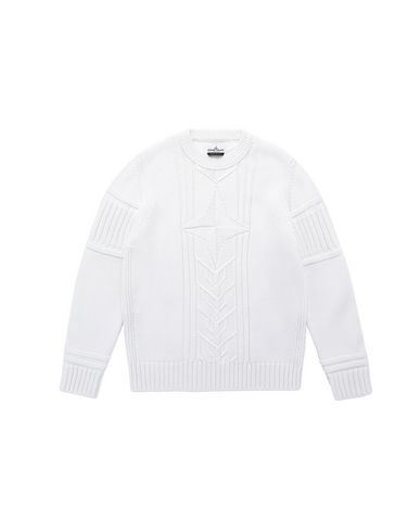 STONE ISLAND JUNIOR 520A6 Sweater Man Natural White USD 190