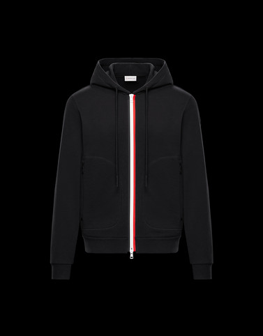 HOODED CARDIGAN Black Sweatshirts Man