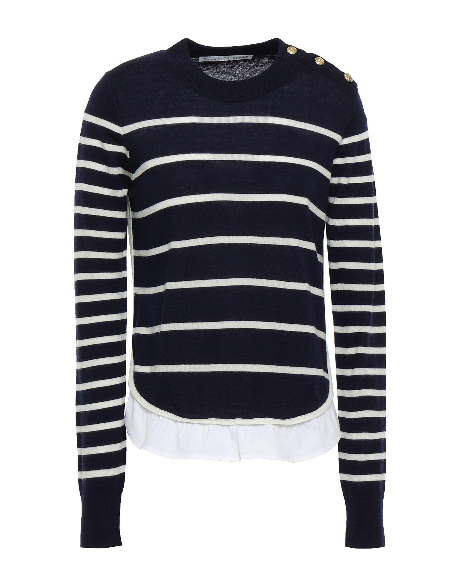 VERONICA BEARD Sweaters. plain weave, knitted, no appliqués, lightweight knit, round collar, stripes, long sleeves, no pockets, button closing, side closure. 100% Merino Wool, Cotton, Elastane
