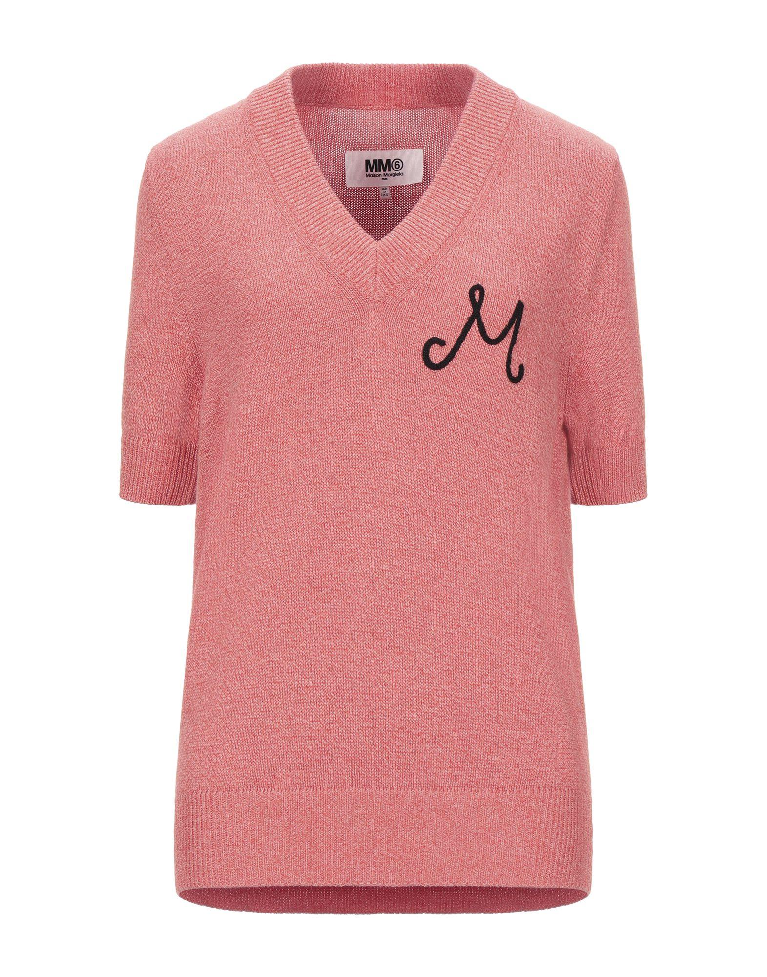 MM6 MAISON MARGIELA Sweaters. knitted, mélange, logo, lightweight knit, v-neck, solid color, short sleeves, no pockets. 100% Cotton