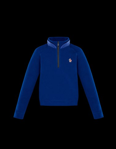 ZIPPED MOCK POLO NECK Blue Category High necks Man