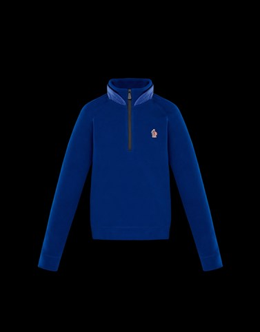 ZIPPED MOCK POLO NECK Blue Grenoble_junior-8-10-years-boy Man