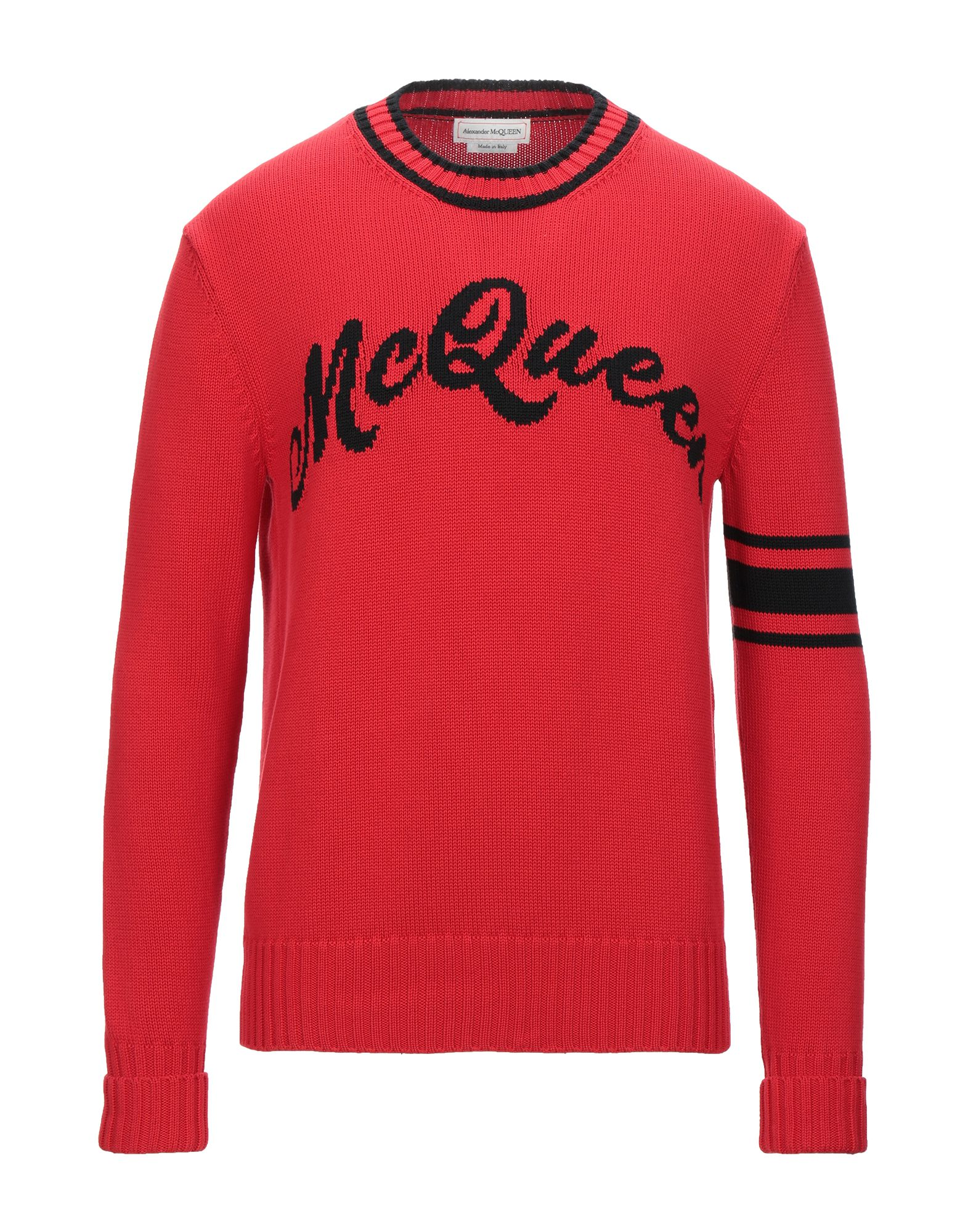 ALEXANDER MCQUEEN Sweaters. knitted, logo, embroidered detailing, round collar, medium-weight knit, two-tone, long sleeves, no pockets. 100% Cotton