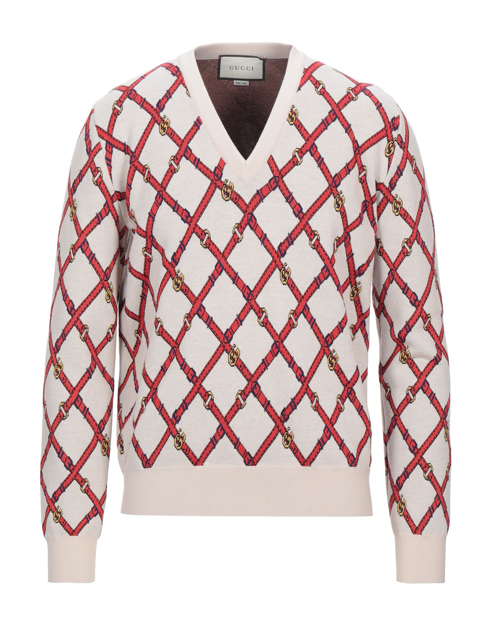 GUCCI Sweaters. knitted, no appliqués, lightweight knit, v-neck, multicolor pattern, long sleeves, no pockets. 100% Wool, Polyamide, Elastane