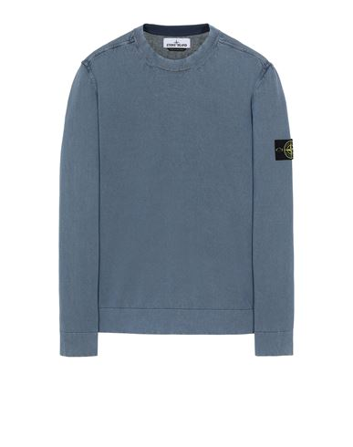 STONE ISLAND 554D9 WHITE FROST TREATMENT Sweater Man Avio Blue EUR 195
