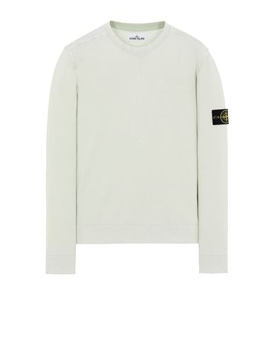 STONE ISLAND 554D9 WHITE FROST TREATMENT Sweater Man Light Green EUR 279