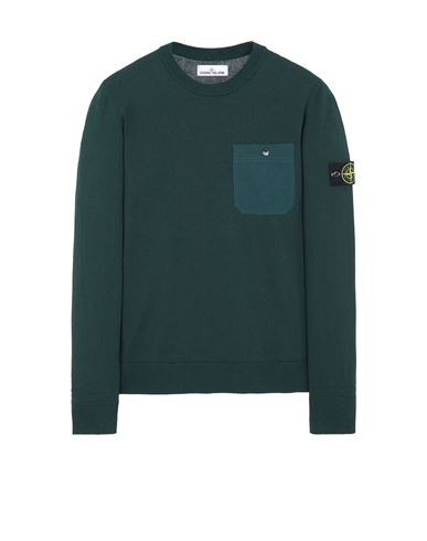 STONE ISLAND 571B9 Sweater Man Dark Teal Green EUR 191