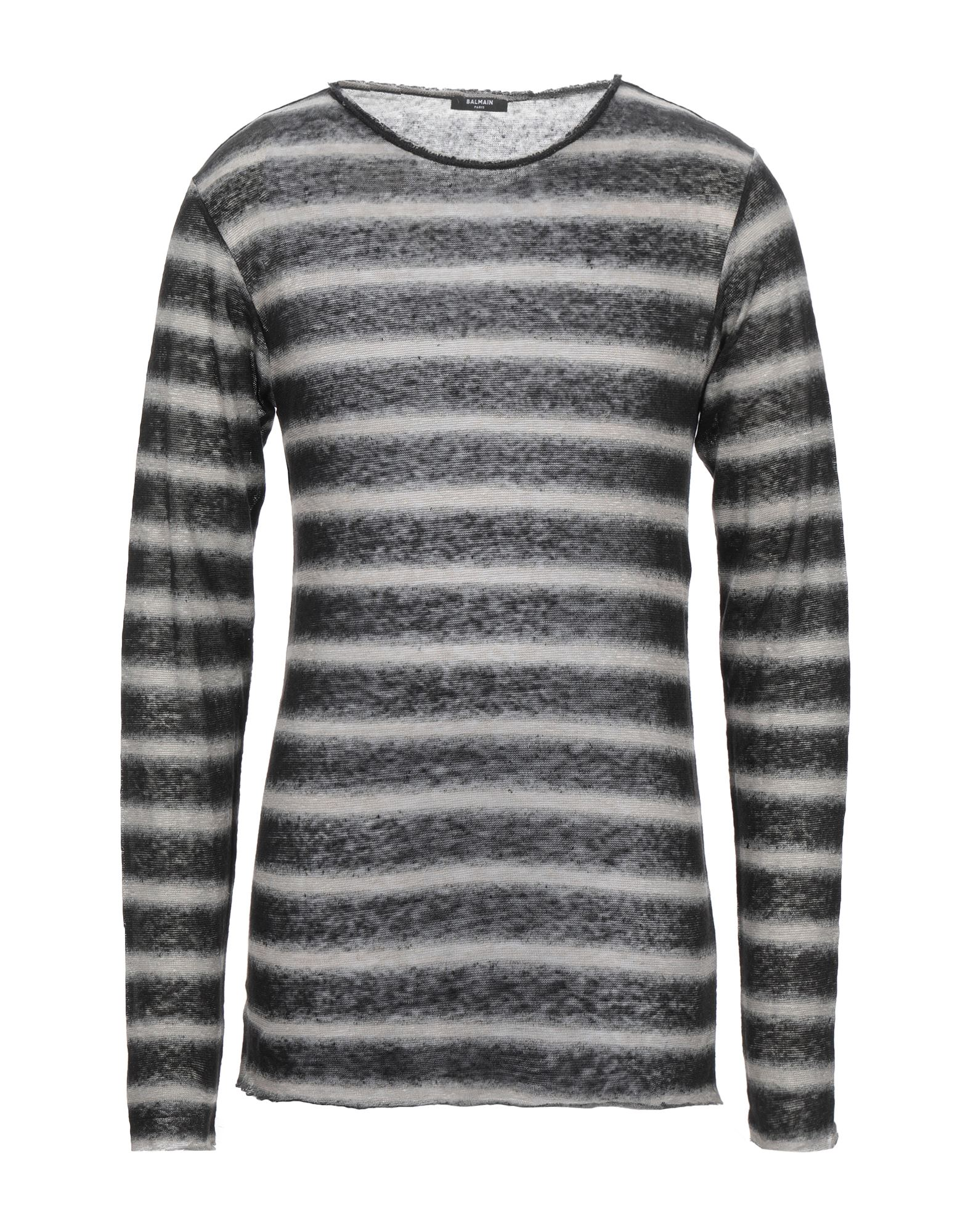 BALMAIN Sweaters. knitted, round collar, stripes, long sleeves, no pockets, no appliqués, lightweight knit, large sized. 100% Linen
