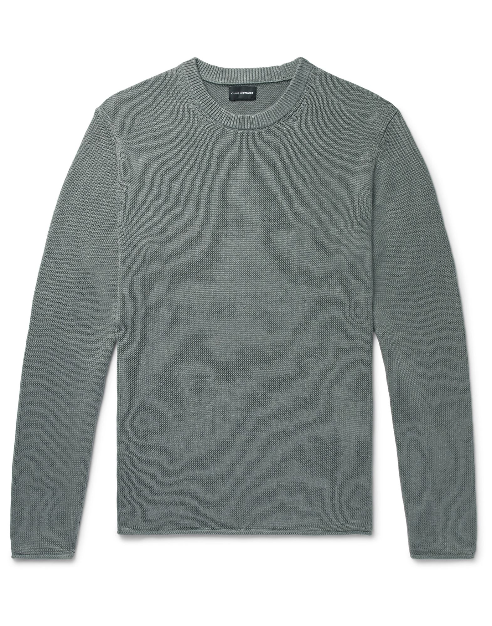 CLUB MONACO Sweaters. knitted, no appliqués, lightweight knit, round collar, solid color, long sleeves, no pockets. 59% Cotton, 41% Linen