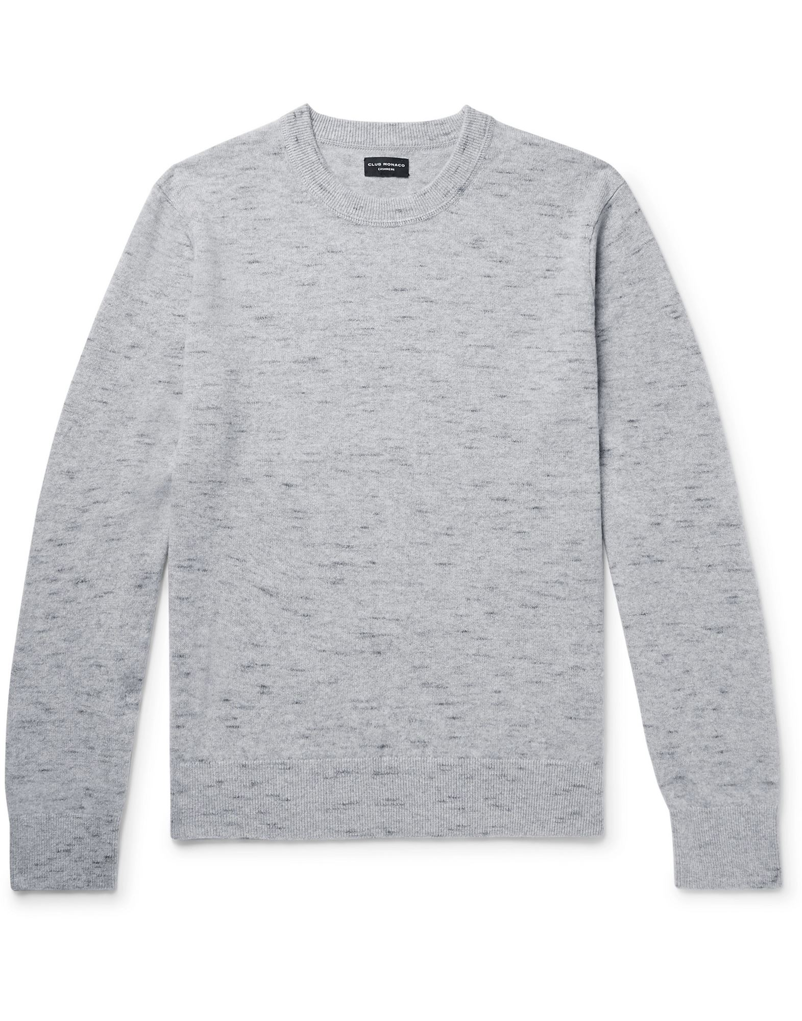 CLUB MONACO Sweaters. knitted, mélange, no appliqués, medium-weight knit, round collar, multicolor pattern, long sleeves, no pockets. 100% Cashmere