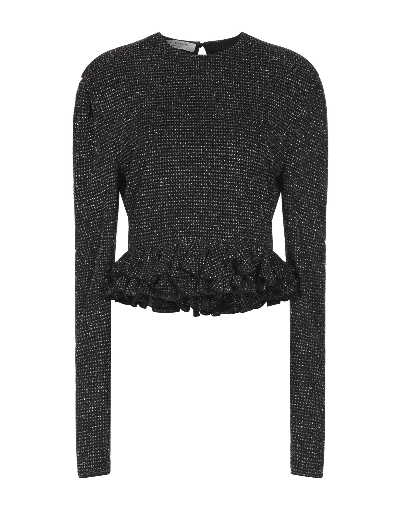 PHILOSOPHY di LORENZO SERAFINI Sweaters. knitted, lamé, ruffles, lightweight knit, round collar, multicolor pattern, long sleeves, no pockets, fully lined, stretch. 91% Polyamide, 5% Elastane, 4% Metal