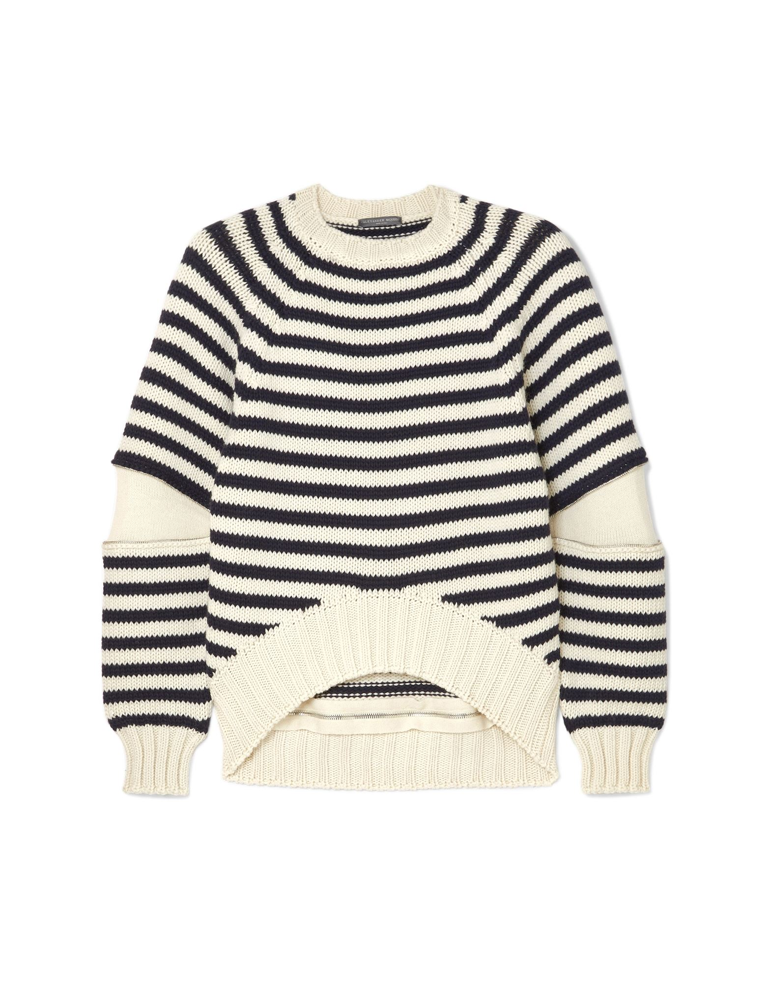 ALEXANDER MCQUEEN Sweaters. knitted, contrasting applications, lightweight knit, round collar, stripes, long sleeves, no pockets, small sized. 100% Wool