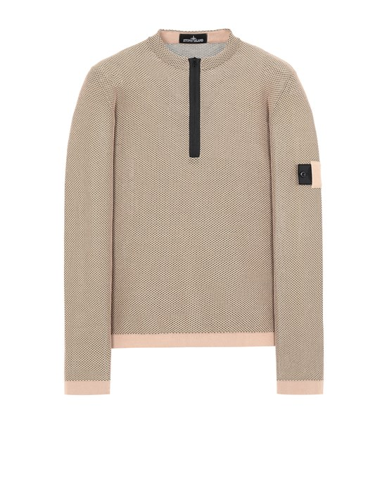 STONE ISLAND SHADOW PROJECT 507A3 LIGHT MESH KNIT HALF ZIP Tricot Homme Vieux rose