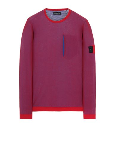 STONE ISLAND SHADOW PROJECT 505A3 LIGHT MESH KNIT CREWNECK Jersey Hombre Rojo EUR 410