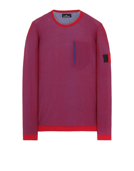 STONE ISLAND SHADOW PROJECT 505A3 LIGHT MESH KNIT CREWNECK Tricot Homme Rouge
