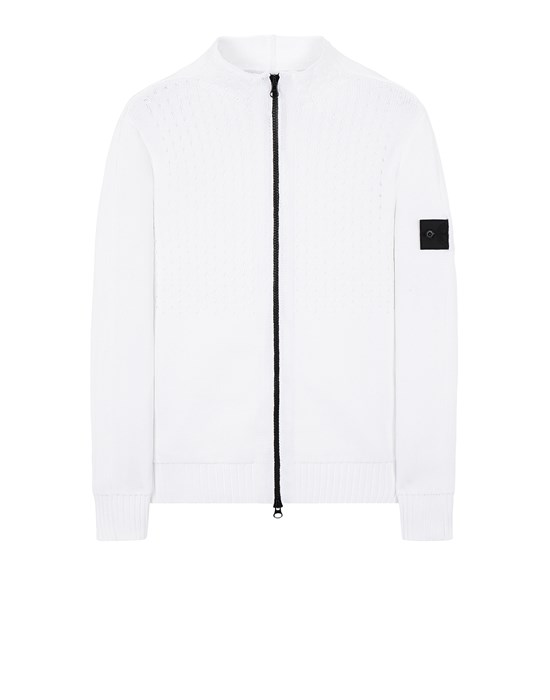 STONE ISLAND SHADOW PROJECT 511A2 HEAVY MESH TRACK KNIT JACKET Sweater Man Natural White