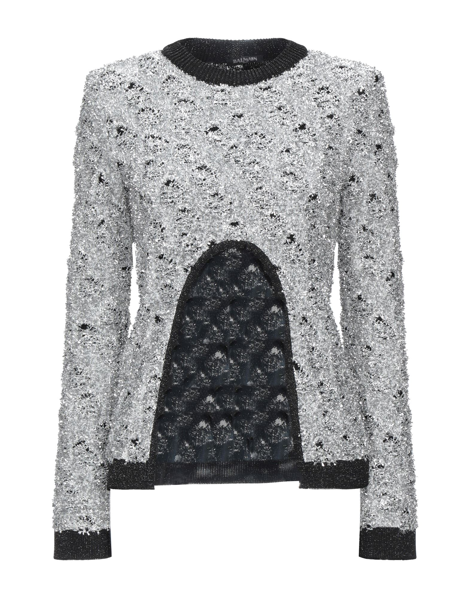 BALMAIN Sweaters. knitted, lamé, no appliqués, lightweight knit, round collar, solid color, long sleeves, no pockets. 57% Viscose, 30% Polyamide, 12% Polyester, 1% Cupro