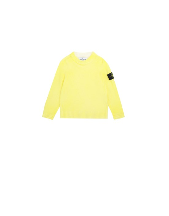 STONE ISLAND JUNIOR 513A3 AIRBRUSHED HAND TREATMENT Sweater Man Lemon
