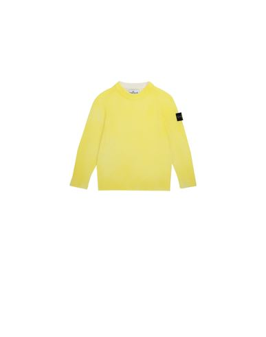 STONE ISLAND KIDS 513A3 AIRBRUSHED HAND TREATMENT Sweater Man Lemon EUR 179