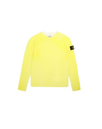 STONE ISLAND JUNIOR 513A3 AIRBRUSHED HAND TREATMENT Jersey Hombre Limón EUR 200