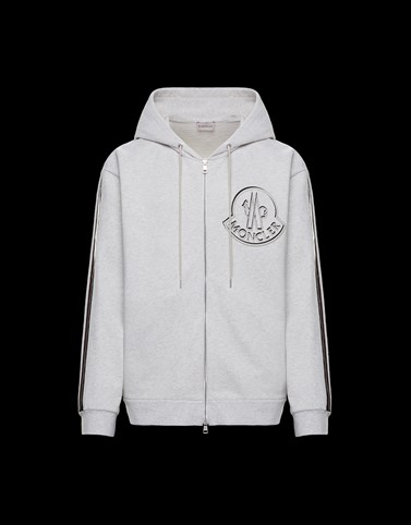 HOODED JUMPER Grey Category ZIP-UP SWEATSHIRTS Man