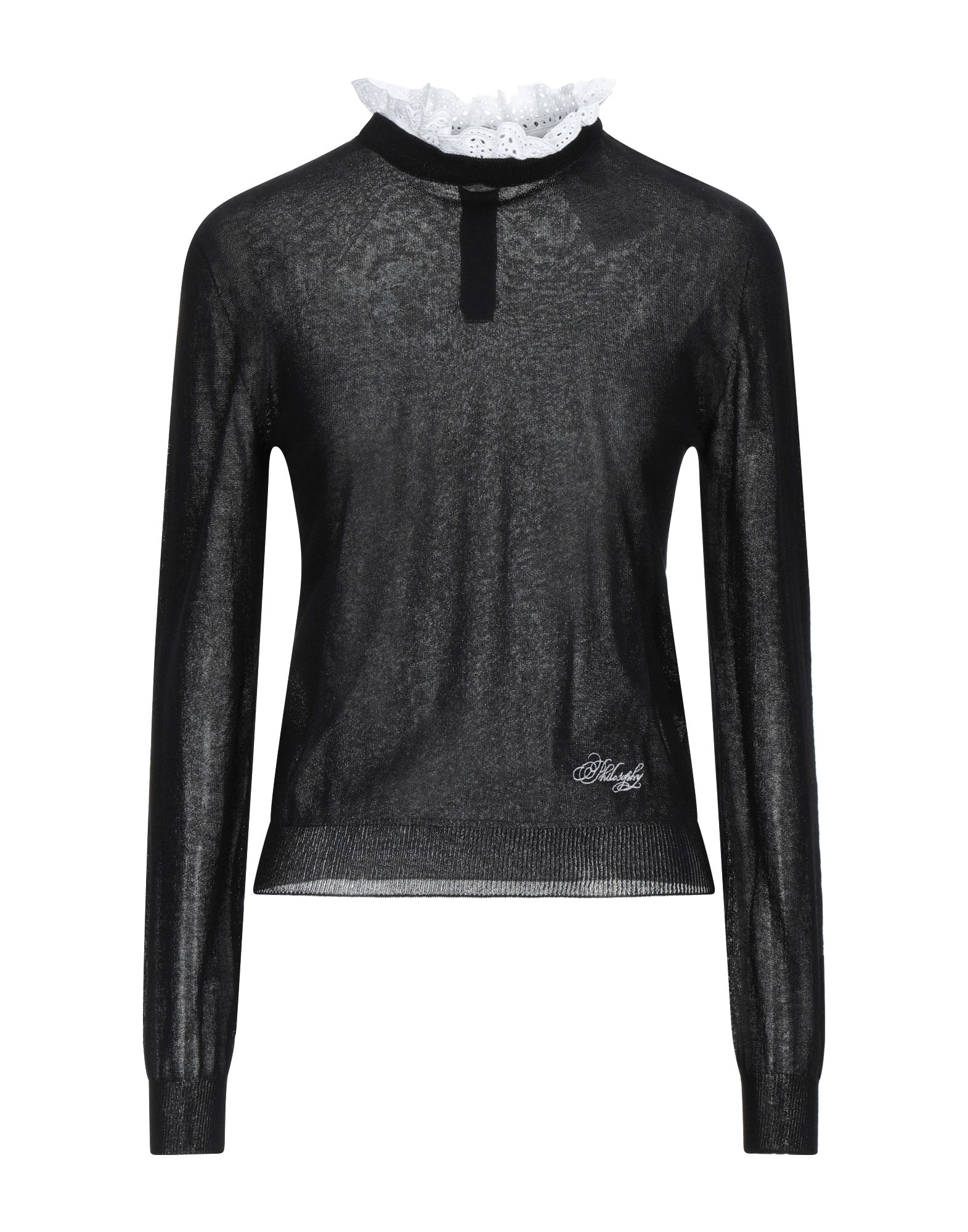 PHILOSOPHY di LORENZO SERAFINI Sweaters. lace, knitted, logo, detachable application, lightweight knit, lapel collar, solid color, long sleeves, rear closure, button closing, no pockets. 100% Cotton, Viscose, Polyamide
