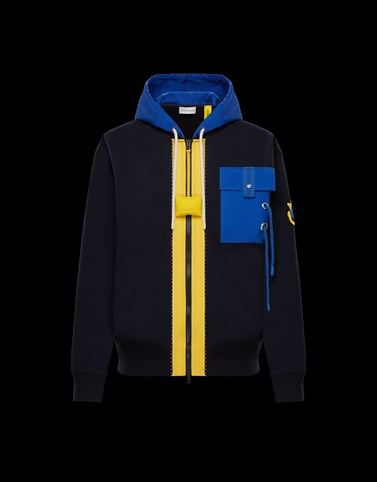 HOODED ZIP-UP SWEATSHIRT Blue Knitwear Woman