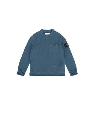 STONE ISLAND KIDS 510A5 Sweater Man Blue Grey EUR 229