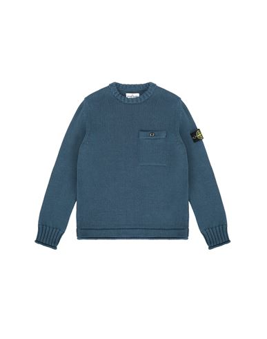 STONE ISLAND JUNIOR 510A5 Sweater Man Blue Grey EUR 285