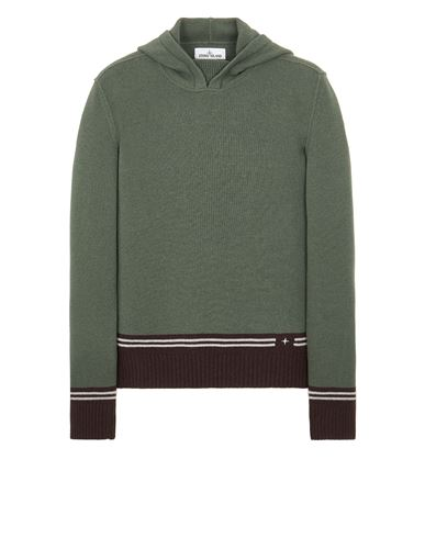 STONE ISLAND 568B8 LAMBSWOOL WITH STRIPED MOTIF AND EMBROIDERY Sweater Man Sage Green EUR 375