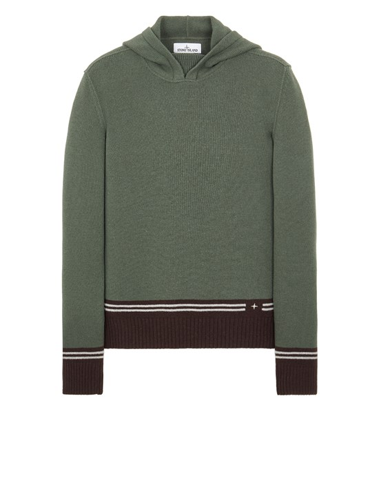 Sweater Man 568B8 LAMBSWOOL WITH STRIPED MOTIF AND EMBROIDERY Front STONE ISLAND