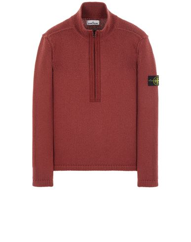 STONE ISLAND 534A6 LAMBSWOOL WITH FABRIC DETAILS Sweater Man Brick red USD 526