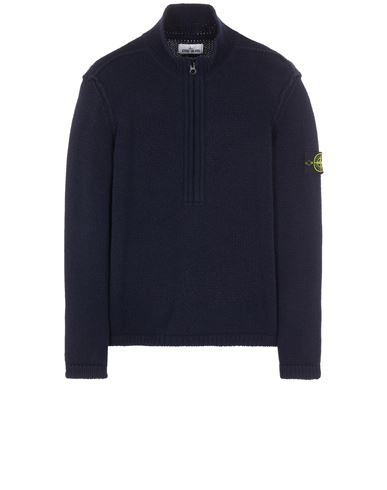 STONE ISLAND 534A6 LAMBSWOOL WITH FABRIC DETAILS Sweater Man Blue EUR 515