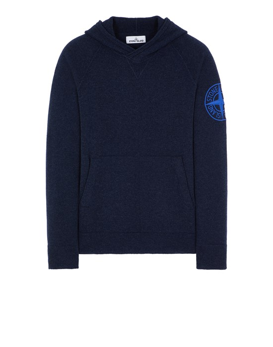STONE ISLAND 513B7 GEELONG WOOL WITH EMBROIDERY 针织衫 男士 蓝色