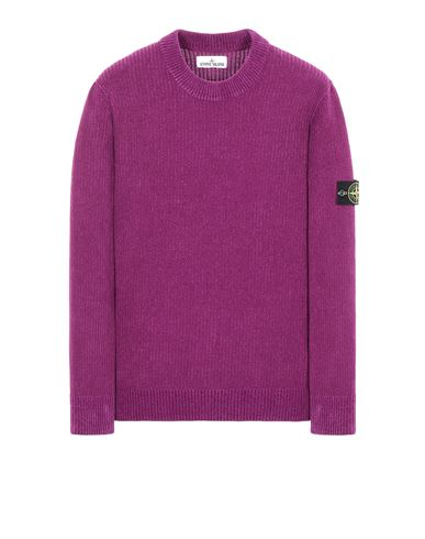 STONE ISLAND 555A5 COTTON CHENILLE Sweater Man Magenta EUR 319