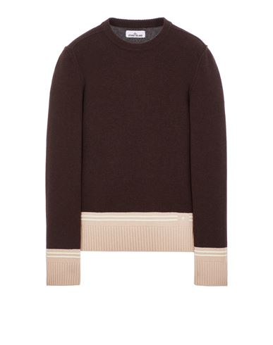 STONE ISLAND 573B8 LAMBSWOOL WITH STRIPED MOTIF AND EMBROIDERY Sweater Man Dark Brown EUR 319