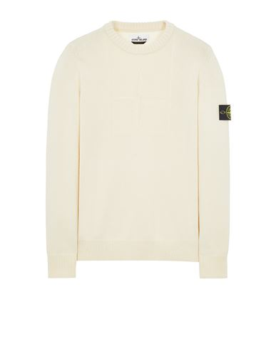 STONE ISLAND 503A7 COMFORT WOOL-COTTON Sweater Man Natural White EUR 295
